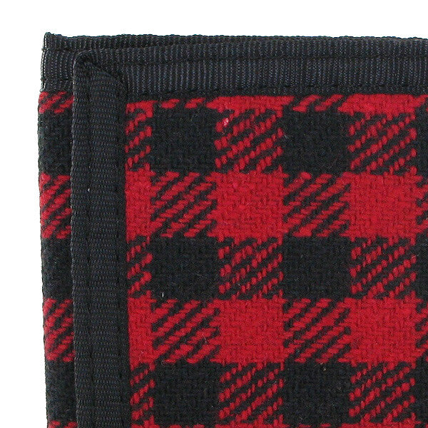 Plaid Fabric Trifold Wallet - Red/Black - 9909031