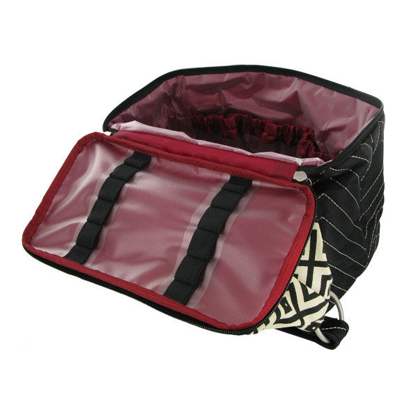 Travelon Quilted Nylon Zip-Top Train Case - Brown/Houndstooth Pattern, F09710 848000