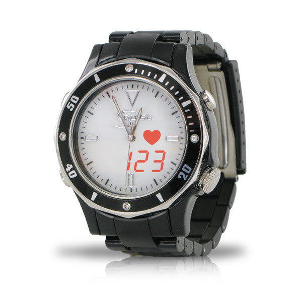 Fashion S-Pulse Heart Rate & Dual Time Zone Watch with Large LED Readout