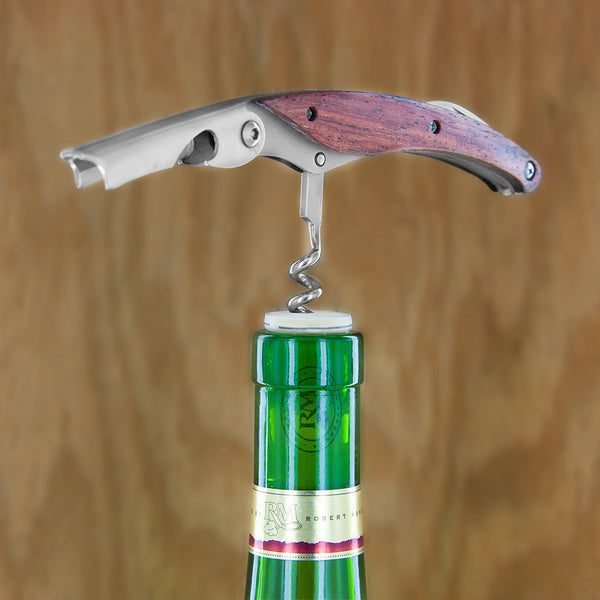 Deluxe Double Hinged Wooden Corkscrew with Cap Gift Set