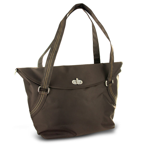 Travelon Large Tote With Flap and Turn Lock Closure (Brown), F09920 U47000