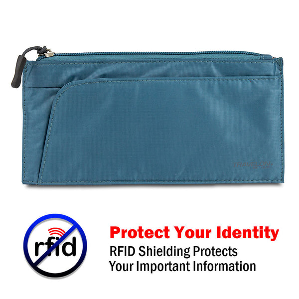 Travelon Safe ID Hack-Proof Large Credit Card Wallet with RFID Blocking, Teal, 12594-380-0010-