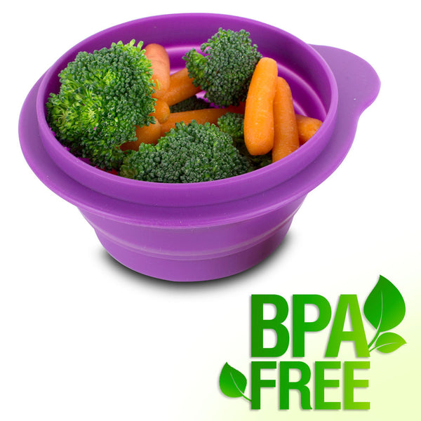 BPA-Free 1.5 Cup Collapsible Silicone Container with Lid, Purple