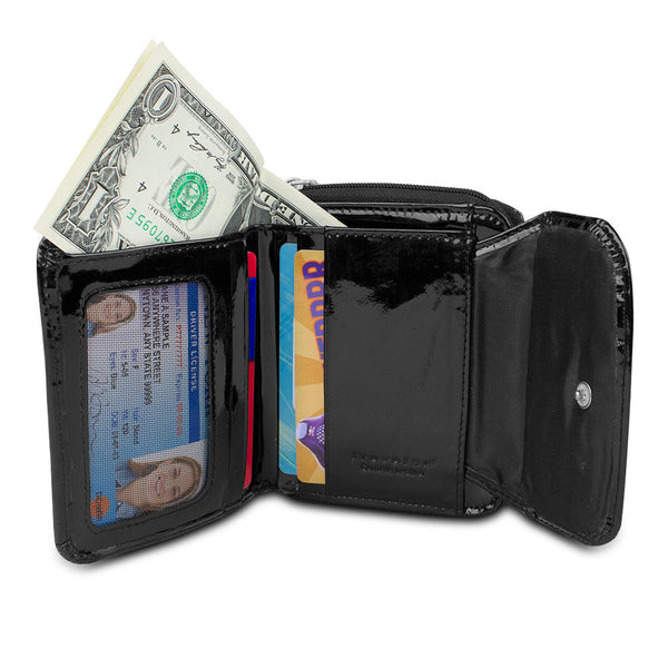 Travelon Safe ID Hack-Proof Leather French Wallet with RFID Blocking, 12662-500