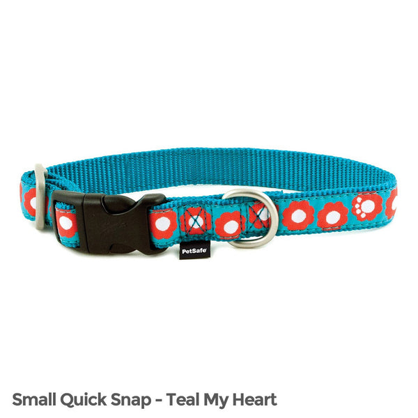 PetSafe Fido Finery Quick Snap Collar (Small, Teal My Heart) - FIN-QSC-S-3/4-TEA