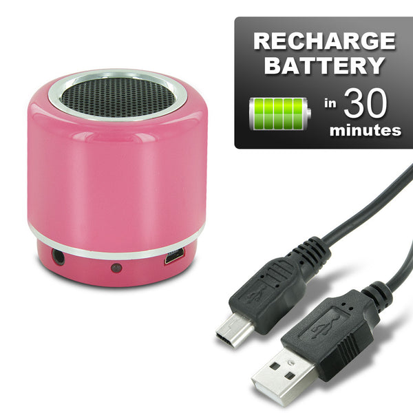Mini-BOOM Wireless Bluetooth Speaker with Rechargeable Battery (Pink)