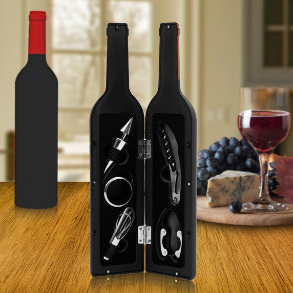 Premium Wine Bottle Gift Set - Opener, Stopper, Drip Ring, Foil Cutter & Pourer