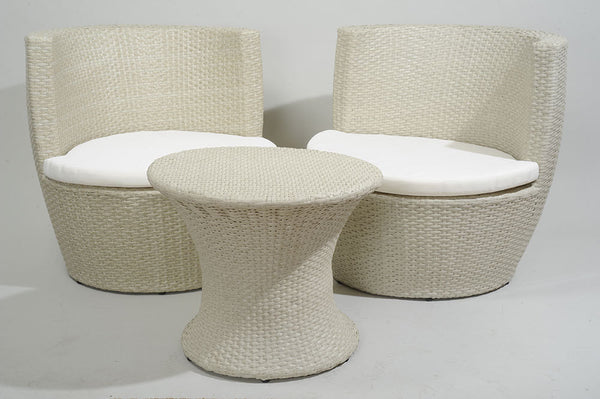 2 Beige Outdoor Patio Resin Wicker Chair and Table Set - Off-White Cushions