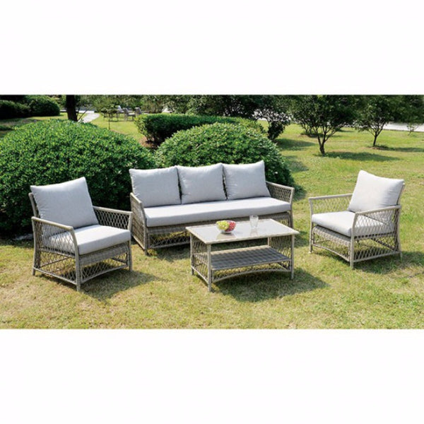 Jacquelyn Contemporary Patio Seating, 4 Piece, Light Gray