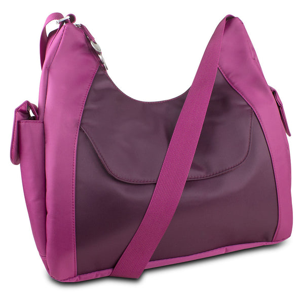Travelon Hack-Proof Oversized Everyday Hobo Bag w/ RFID Protection (Berry/Wine), 42891-230