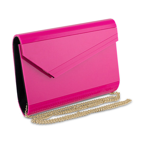 Mad Style Acrylic Slant Envelope Clutch, Pink - 3314B