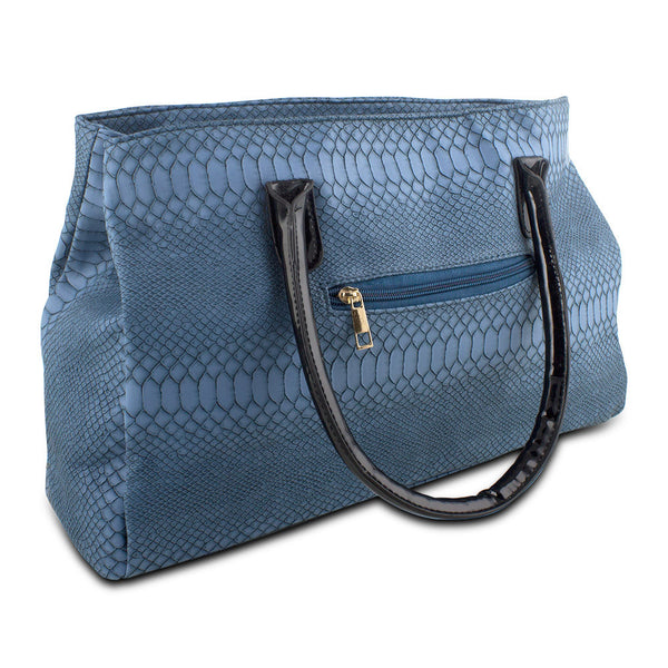 Mad Style Matted Snake Tote, Blue - 3765A