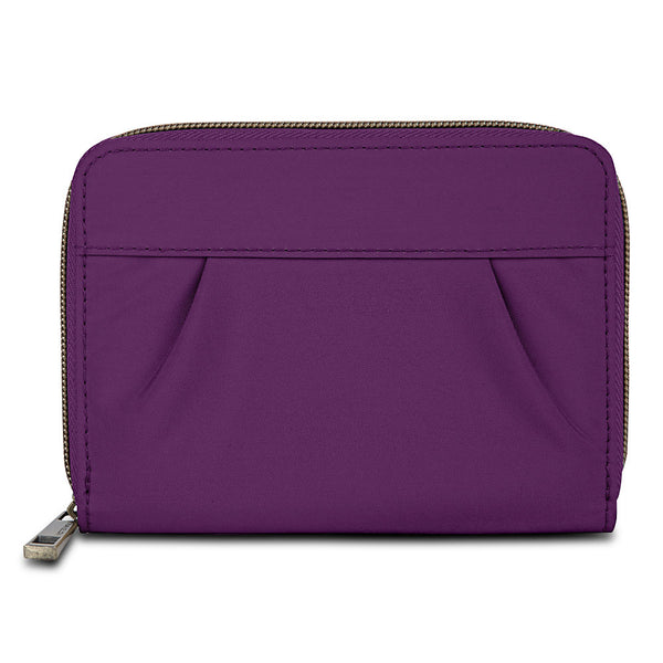 Travelon Signature Hack-Proof RFID Pleated Passport Wallet, Purple, 42961-150