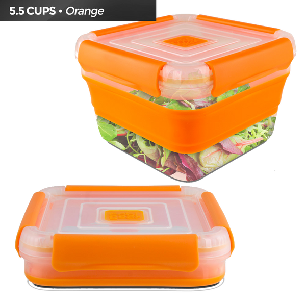 Cool Gear Expandable Air Tight Food Storage Lunch Box 5.5 CUP BPA-free Orange