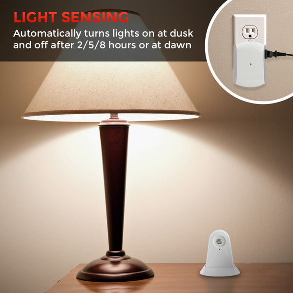 Wireless Dusk-to-Dawn Security Light Control with Outlet Receiver