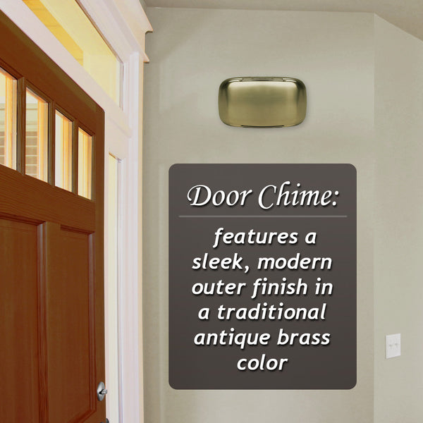 Heath Zenith 45-A Wired Doorbell Chime with Sleek Modern Design (Antique Brass)