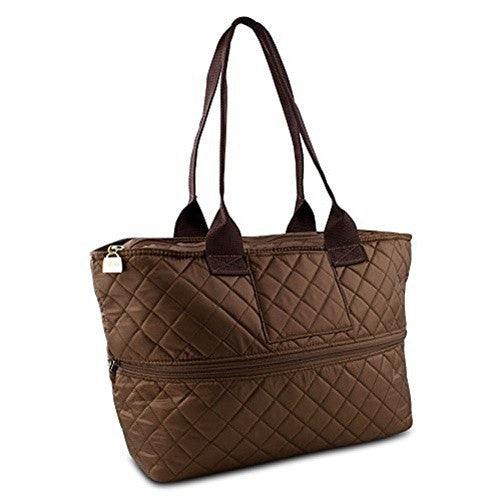 Pursfection Expandable Tote Bag in Quilted Fabric  Dark Brown - PP05-DK BRN