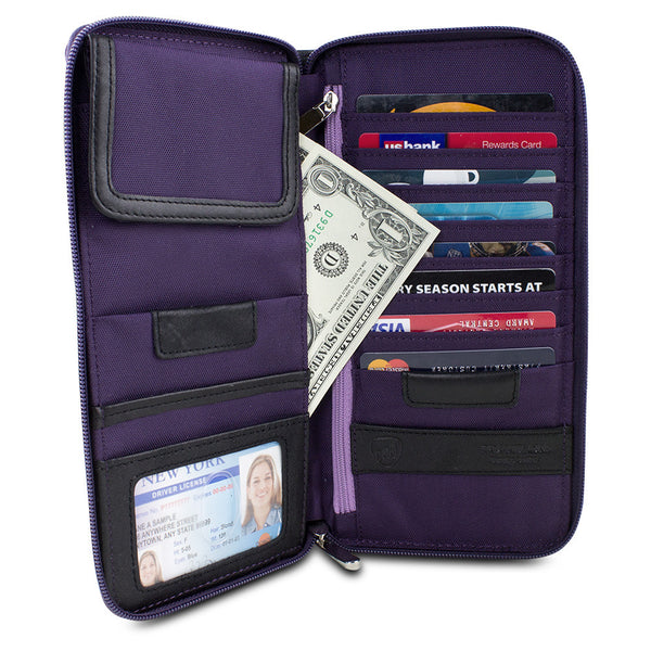Travelon Hack-Proof RFID Blocking Executive Organizer, Purple, 82874-150
