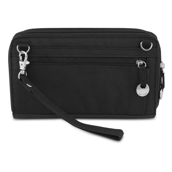 Travelon SafeID Accent Double Zip Clutch Wallet, Black, 82871-500
