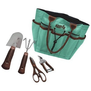 Blooms 5-Piece Gardening Tool Set (Mint Canvas Bag)
