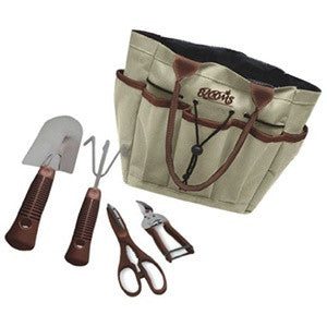 Blooms 5-Piece Gardening Tool Set (Tan Canvas Bag)