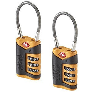 Lewis N Clark TSA Cable Lock 2-Pack, Orange