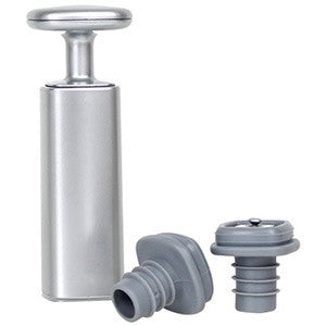 Metrokane Houdini Wine Preserver with Set of 2 Vacuum Stoppers, Silver
