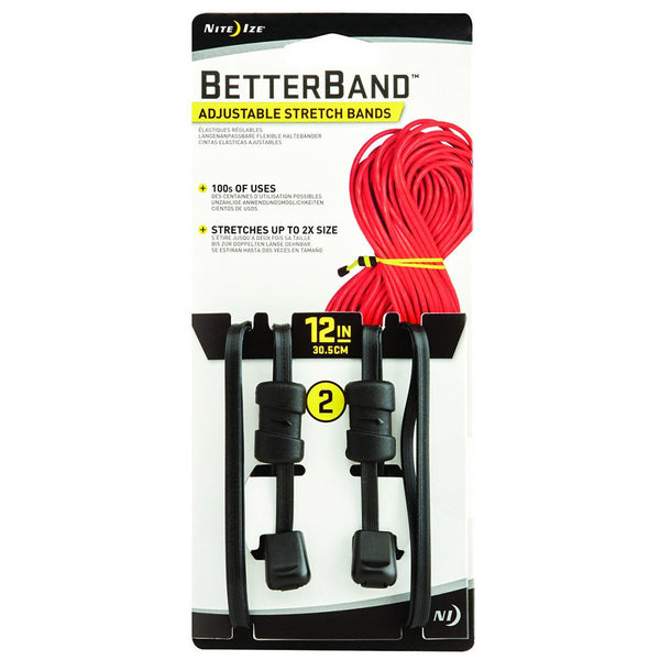 Nite Ize Better Band 12 Adjustable Stretch Bands, 2 Pack (Black) - BDS12-01-2R3