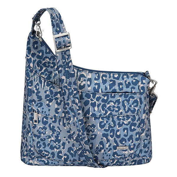 Travelon Anti-Theft Asymmetric RFID Crossbody, Blue Leopard, 43080-34N