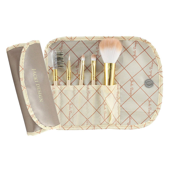 Jacki Design Vintage Allure 5 Pc Make Up Brush Set And Bag, Cream