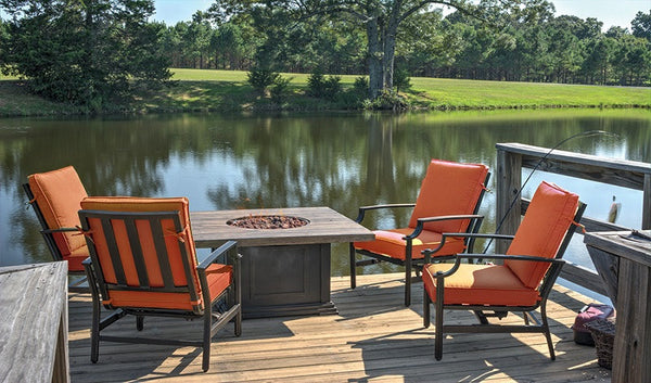 5-Piece Tres Motion Cast Aluminum Patio Chair and Gas Fire Pit Outdoor Furniture Set - Terracotta Cushions