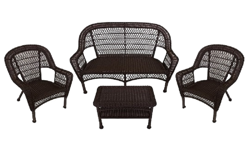 4-Piece Brown Resin Wicker Patio Furniture Set - Loveseat, 2 Chairs & Table