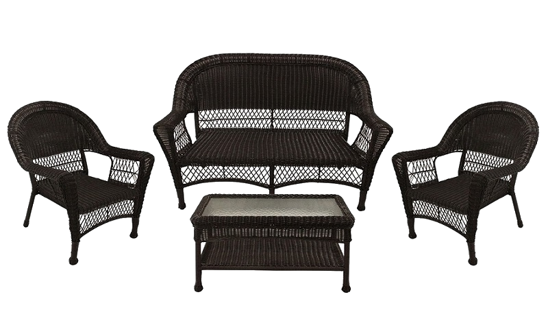 4-Piece Brown Resin-Wicker Patio Furniture Set - 2 Chairs, Loveseat & Coffee Table
