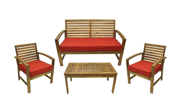 4-Piece Acacia Wood Outdoor Patio Table and Chair Furniture Set - Terra Cotta Cushions