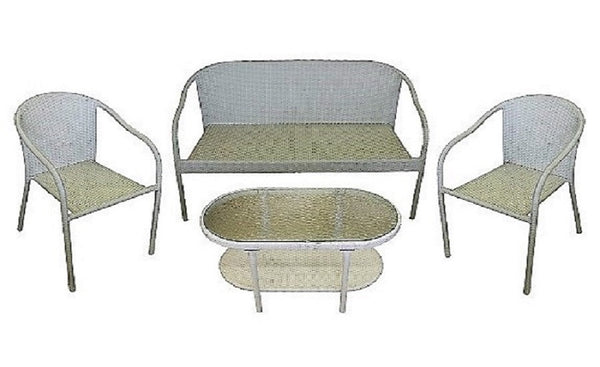 4-Piece White Resin Wicker Patio Furniture Set - Loveseat, 2 Chairs & Glass Top Table