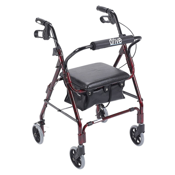 Drive Medical Winnie Mimi Lite Deluxe Aluminum Rollator, Flame Red