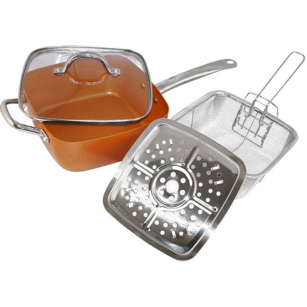 4PC Square Copper Cookware Set, 5-IN-1 Functions Copper Cooking Pan, PG93800