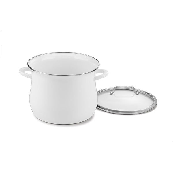 Cuisinart EOSB126-28W Contour 12-Quart Enamel on Steel Stockpot - White