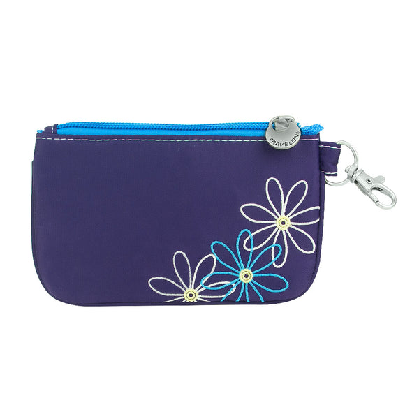 Travelon RFID Blocking Daisy Zip ID Card Holder Coin Pouch Wallet Purple 23136-150-0060-01