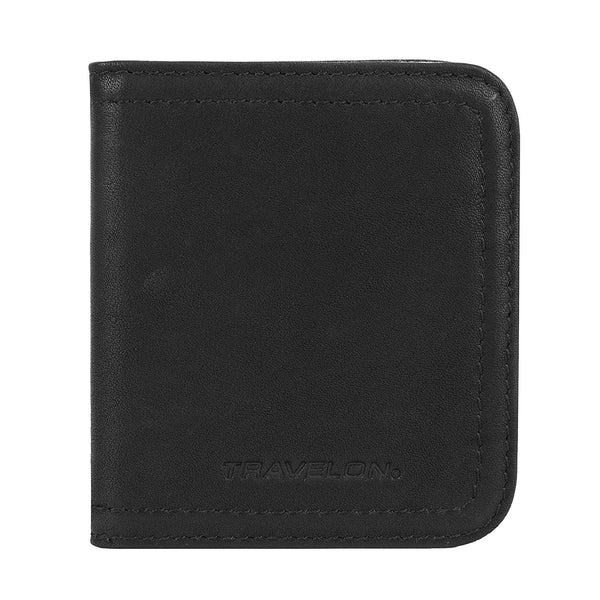 Travelon Women's Hack-Proof RFID Blocking Leather Bifold Wallet Card Case  Black