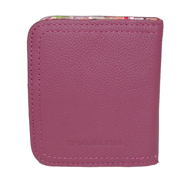 Travelon Women's Hack-Proof RFID Blocking Leather Bifold Wallet Card Case  Berry