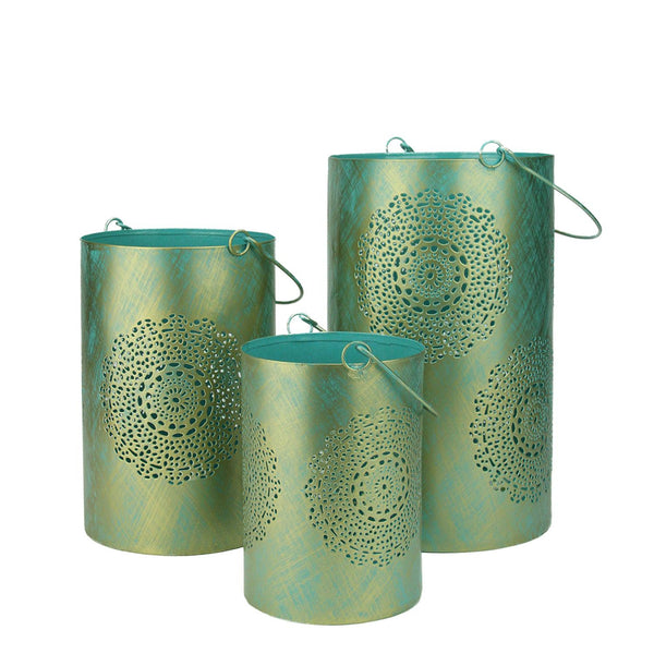 "Set of 3 Turquoise Blue and Gold Decorative Floral Cut-Out Pillar Candle Lanterns 10"", RV14199"