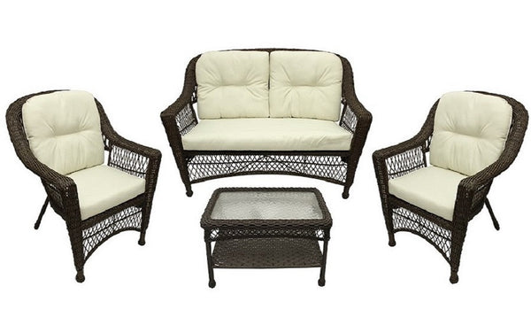 4-Pc Somerset Dark Brown Resin Wicker Patio Loveseat, Chairs & Table Furniture Set - Cream Cushions, GERSON 2116220