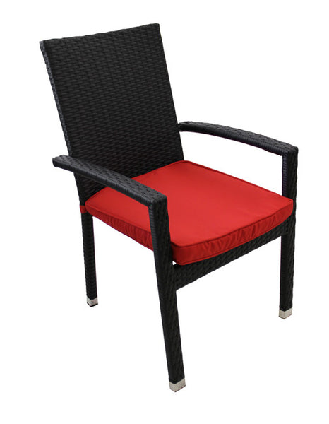 7-Piece Black Resin Wicker Outdoor Furniture Patio Dining Set - Red Cushions
