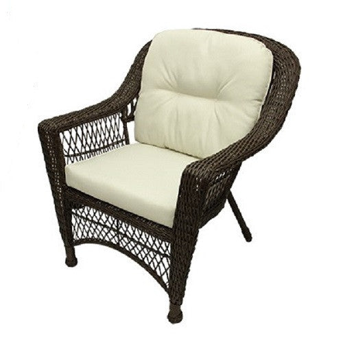 4-Pc Somerset Dark Brown Resin Wicker Patio Loveseat, Chairs & Table Furniture Set - Cream Cushions