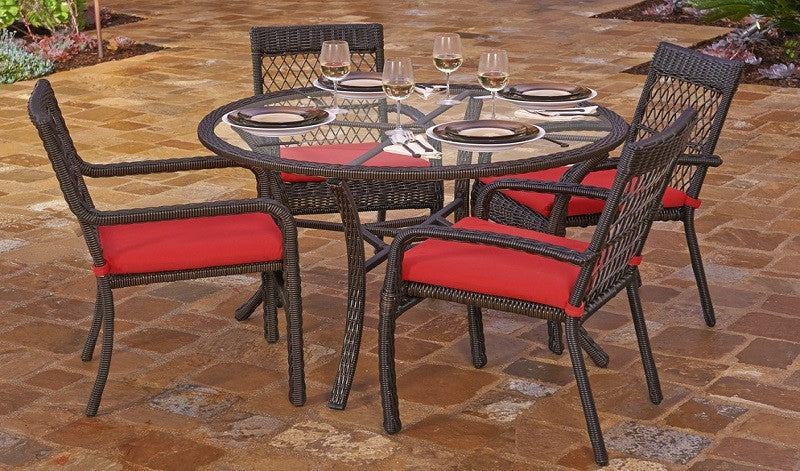 5-Piece Beacon Cappuccino Weave Resin Wicker Outdoor Chair and Dining Table Set - Solid Red Cushions