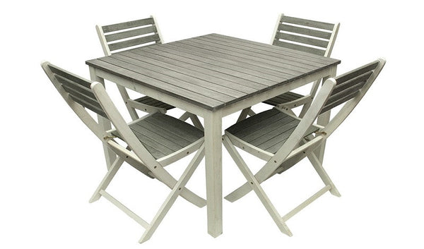 5-Piece Gray and White Acacia Wood Outdoor Patio Dining Table and Chair Furniture Set