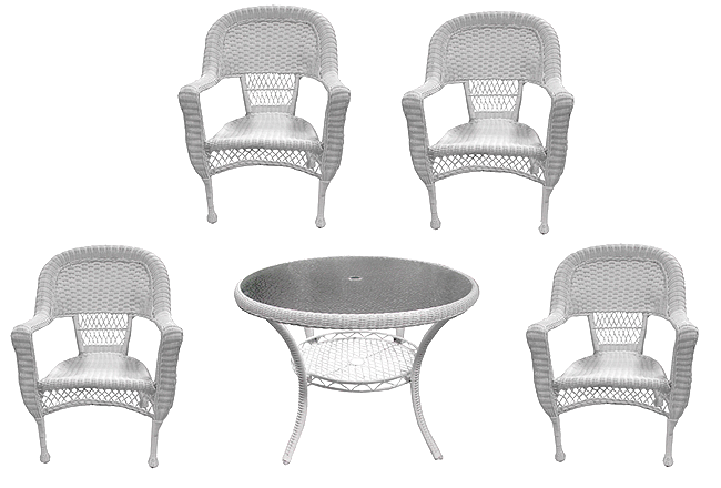 5-Piece White Resin Wicker Patio Dining Set - Table and 4 Chairs