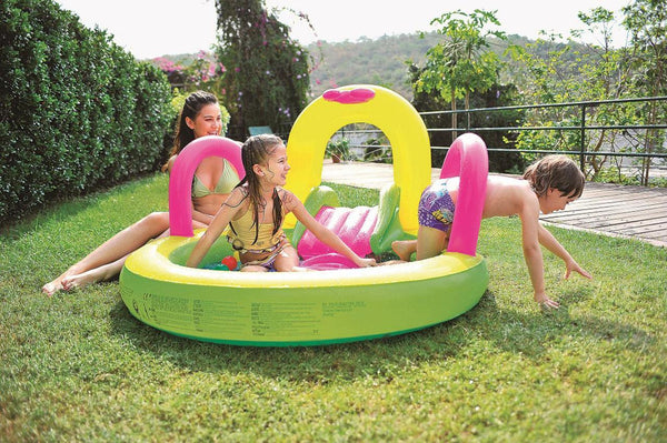 "57"" Bright Green, Yellow, and Pink Inflatable Children's Pool with Slide, JL097207NPF"