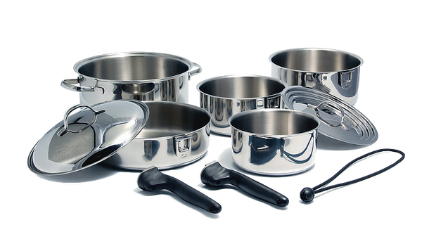 Kuuma 10-Piece Stainless Steel Nesting Cookware Set - Induction Compatible - Oven Safe, 58371